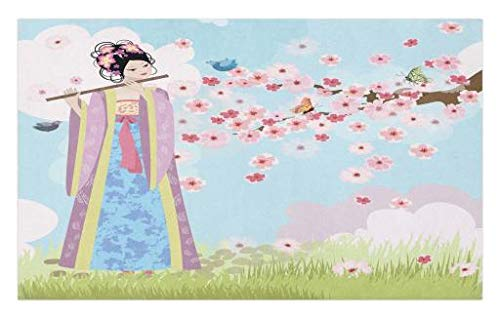 Lunarable Music Doormat, Oriental Girl Near Cherry Blossoms Spring Petals Butterfly Grassland Japan Art, Decorative Polyester Floor Mat with Non-Skid Backing, 30 W X 18 L Inches, Rose Blue Green