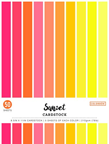 Colorbok 74237 8.5in Smooth Cardstock Sunset, - Stock Sun