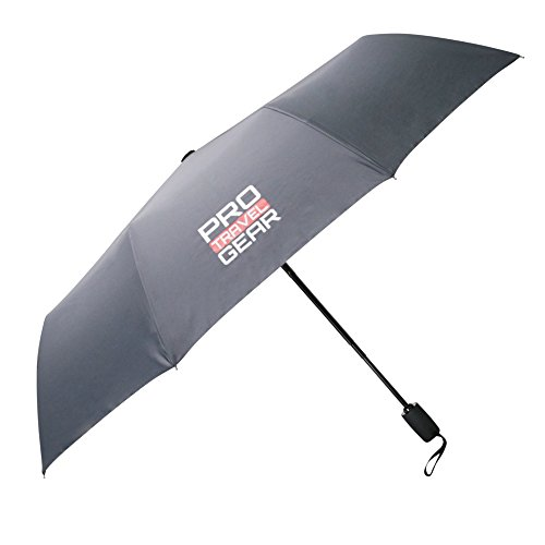 "Pro Travel Gear Compact Travel Umbrella - 10 Ribs, Heavy-duty, Lightweight, Ergonomic Handle with Auto Open/Close Button, Collapsible 12"" to 42"" Canopy, Durable Teflon 210D Material (Umbrella Pro)"