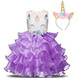 NNJXD Girl Unicorn Flower Ruffles Cosplay Costume Pageant Party Princess Dress with Headband Size (140) 6-7 Years Purple