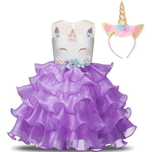 NNJXD Girl Unicorn Flower Ruffles Cosplay Costume Pageant Party Princess Dress with Headband Size (140) 6-7 Years Purple by NNJXD