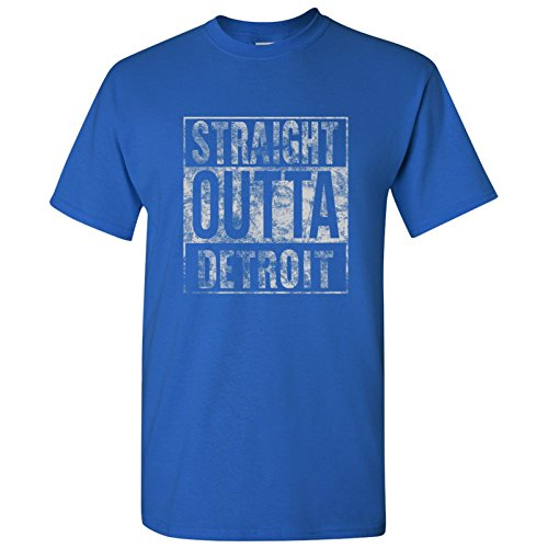 Straight Outta Detroit T Shirt   X Large   Royal Blue