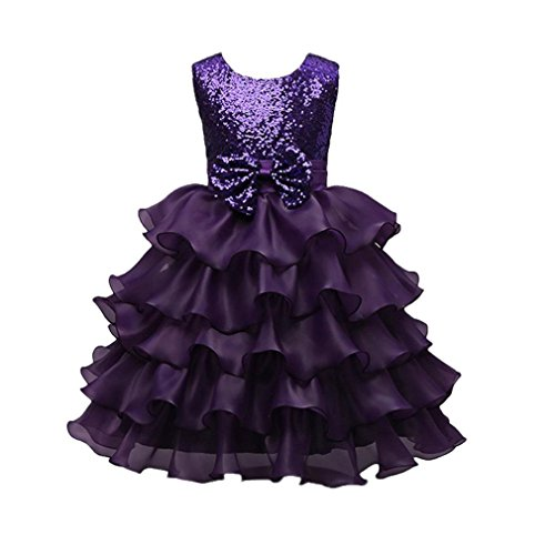 Formal Dress, Auwer Toddler Baby Girls Kids Sequined Bowknot Wedding Bridesmaid Tutu Princess Pageant Dress (5T, Purple) from Auwer