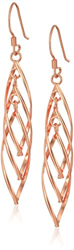 Rose Gold Plated Sterling Silver Linear Swirl French Wire Drop Earrings