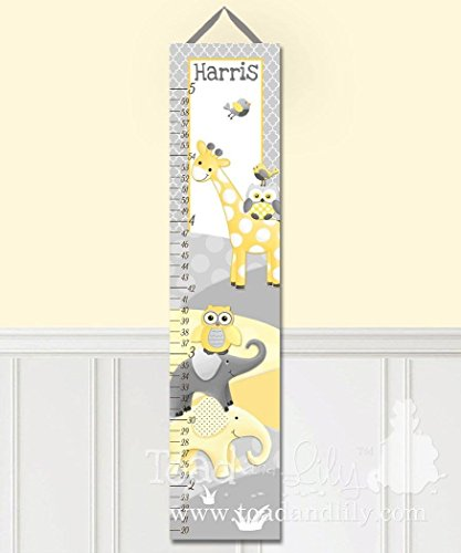 Canvas GROWTH CHART Yellow Gray Jungle Elephant Giraffe - Giraffe Growth Chart Canvas