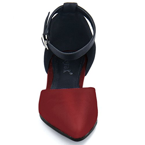 Allegra Block K K Womens Allegra Flats Burgundy Ankle Color Strap rZrwS7WqBX
