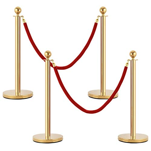 4 pcs Pole Stanchion Posts Queue Business Restaurant Hardware Fencing Barriers Food Bar Beverage Equipment, Pole, Pillar, Theater, Museum, Supermarket, Hotel, Cinema, Motel, Hostel, Caravanserai from Lek Store