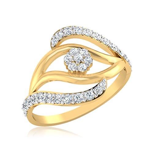 IskiUski 14KT Yellow Gold and American Diamond Ring for Women
