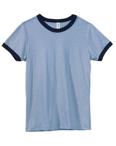 Bella Ladies 4.2 oz. Heather Jersey Ringer - Hthr Blue/Navy - (Heather Blue Ringer)