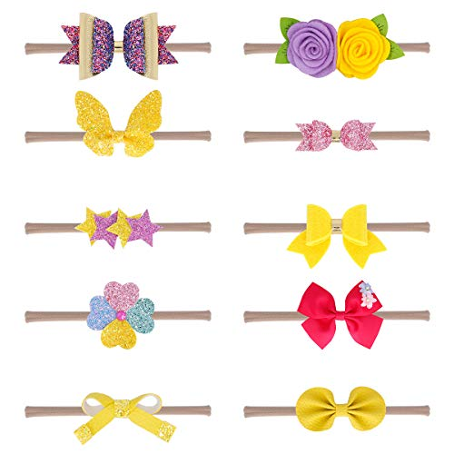 (Baby Girl Nylon Headbands Newborn Infant Toddler Hairbands and Bows Child Hair Accessories (Multicolor-ps-yellow))