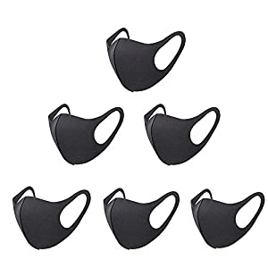 6 Pieces Fashion Protective Face Masks, Unisex Black Dust Cotton Mouth Masks, Washable, Reusable Masks