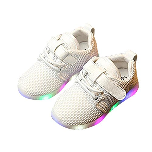 Bambine Da Honestyi Passi Non Scarpine Luminose E Neonato Led Ginnastica Ragazze Primi Lampo Bianco slip Casual Bambino Bimbo Sneakers Scarpe wZwRqp