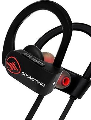 Wireless Bluetooth Running Headphones. SoundWhiz Sweat proof Wireless Sports Earbuds with Mic