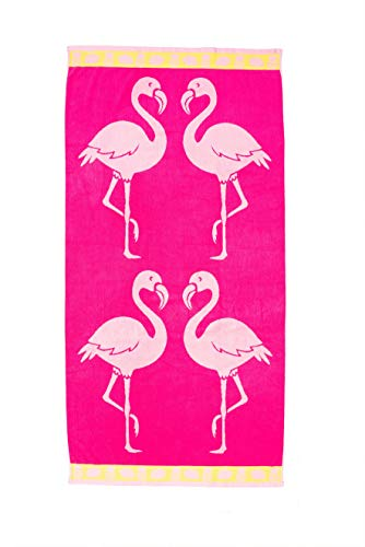 ST.TROPEZ Sands (36in X 70in) Velour Jacquard Beach Towel (Flamingo Mingle) (Best St Tropez Product)