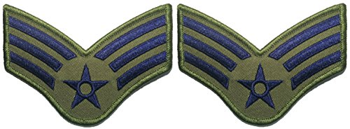 an OD (Olive Drab) and Blue Large US Air Force USAF CHEVRONS Rank Military U.S. Army Morale Applique Embroidered Sew Iron on Emblem Badge Patch By Ranger Return (Emblem Olive Drab)