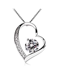 B.Catcher Women Necklace Forever Love Heart Pendant Necklace 925 Sterling Silver Box Chain