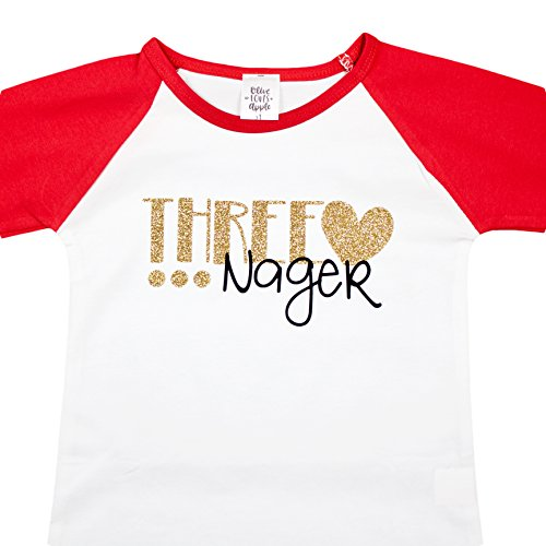 Girls 3rd Birthday Shirt THREE-NAGER Red Baseball T Shirt Glitter Gold Shirt, Red, - Black Coming Is Gold Back