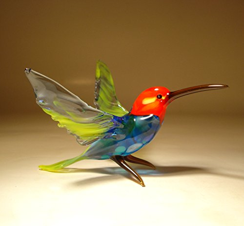 Glass Hummingbird Bird Figurine Blue with Red Head