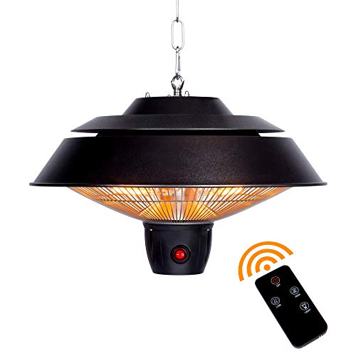 Star Patio Electric Patio Heater with Remote, Outdoor Ceiling Patio Heater, Hanging Patio Heater, Infrared Heaters with 3 Power Settings (600W/900W/1500W), Hammered Bronze Finished, STP1566-C