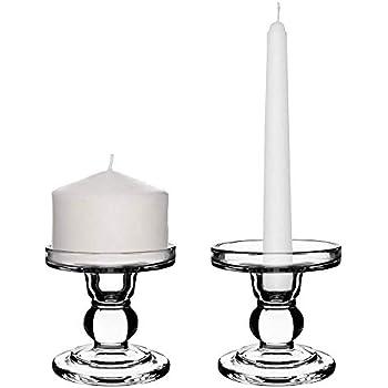 Biedermann /& Sons Short Glass Pillar//Taper Dual Candle Holder