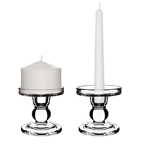 Sidith Clear Glass Pillar Candle Holder, Dual Use Taper Candle Stand for Pillar or Taper Candlesticks (2 Pack) ()