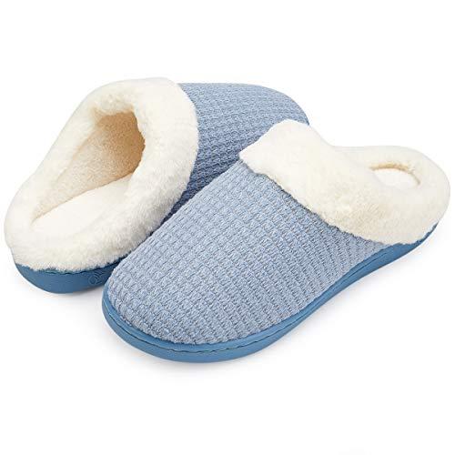 Chaussures Femmes Doublure Mousse comme Pantoufles Mémoire en Confort House Slip Sole Laine Indoor Peluche VIFUUR Outdoor Antidérapante Bleu 6Udzwqgq