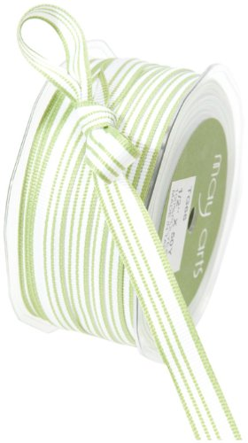 May Arts 1/2-Inch Wide Ribbon, Olive and Ivory Grosgrain Stripes ()