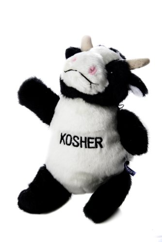 Cow Plush Dog Toy - Copa Judaica Chewish Treat Kosher Cow Squeaker Plush Dog Toy, 7.5 by 7 by 11-Inch, Black and White