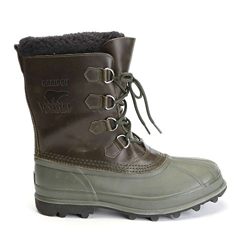 Sorel Men#039s Caribou WL Boots Surplus Green/White 105 DM US