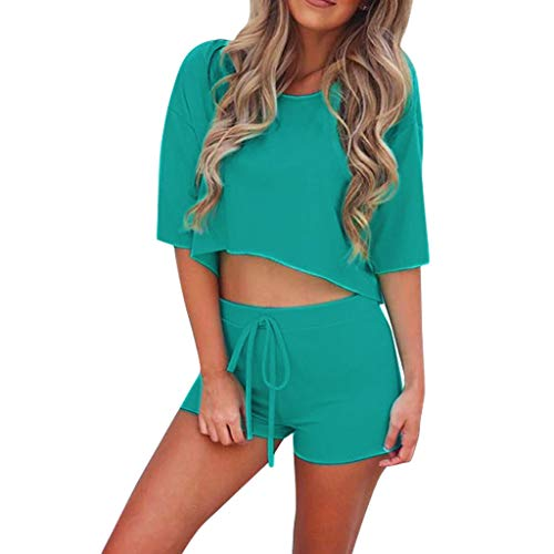 Toimothcn 2 Piece Outfits Women's Solid Casual Short Sleeve Crop Tops+ Shorts Sports Set(Mint Green,M) - Jockey Thermal Pant