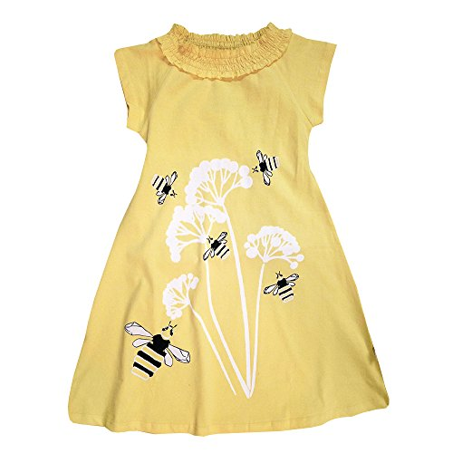 Wee Urban Girls Fashion, Organic Cotton, Short Sleeve, Yellow Honey Bee, Sundress, Party Dress, Size 3/4