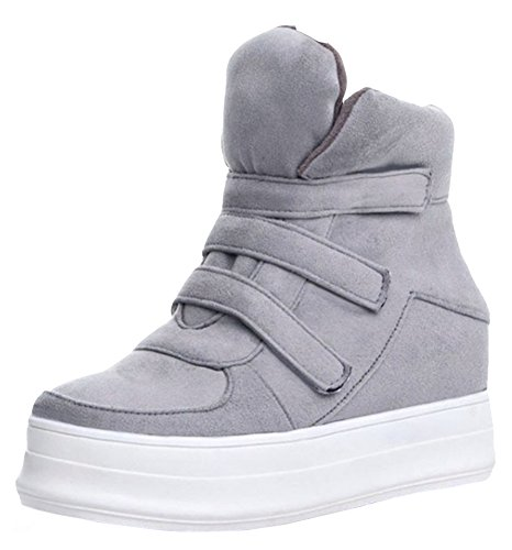 Mid Booties Womens Winter Antiskid IDIFU Snow Wedge Gray Velcro Boots Heels Short Platform Heighten qtgw7nA