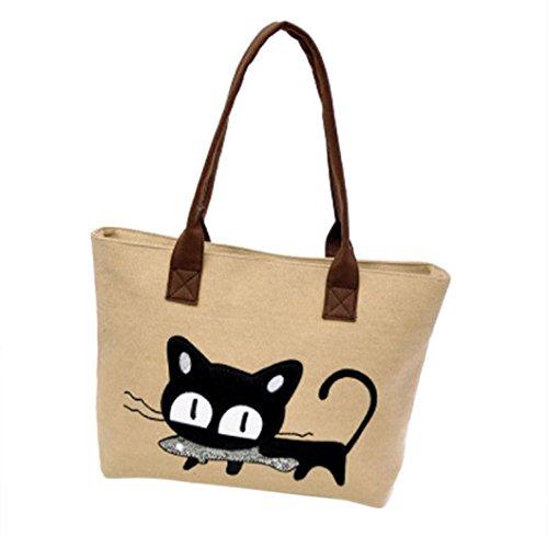 Lindo de Bag Oficina de Bolsa mano Bolsa totes School del Moda Bag hombro Shopping Mujeres puro Carteras gato Large bolso Bag Canvas de de Mujer Bolsos lona Color Bolsa D A almuerzo LuckES 7X4nACqC