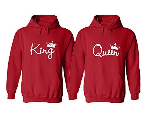King and Queen Couple Hoodies - King Queen Hoodies - King Queen Matching Hoodies Red King X-Large ()