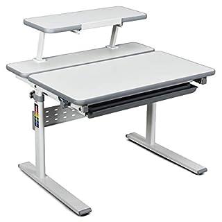 HONEY JOY Kids Desk, Height Adjustable Study Table with Book Stand, Tilted Desktop and Storage Drawer, Multifunctional Workstation for Children, Gray