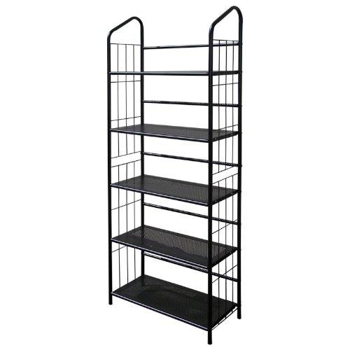 Legacy Decor 5 Tier Metal Utility Bookcase Bookshelf Rack Black Finish 13 D x 26 W x 65 H