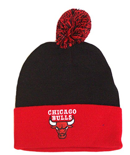 NBA Licensed Two Tone Cuffed Pom Beanie Hat Cap Lid Skull (Chicago Bulls) by NBA