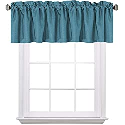 "H.VERSAILTEX Blackout Thermal Insulated Window Curtain Valance, Rod Pocket Primitive Faux Linen Valances, 52"" W x 18"" H, Aegean Blue, 1 Panel"