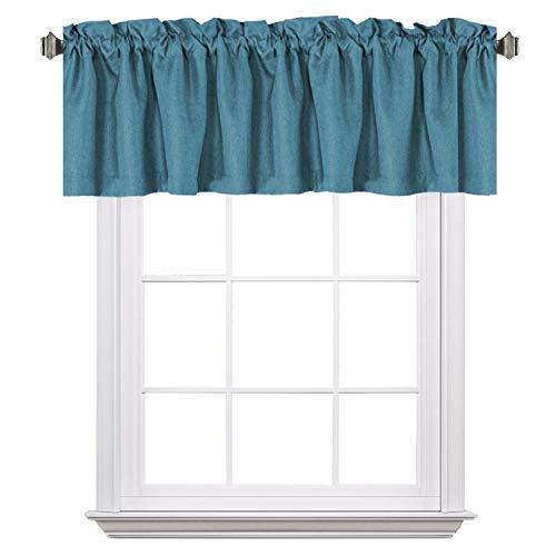 "H.VERSAILTEX Blackout Thermal Insulated Window Curtain Valance, Rod Pocket Primitive Faux Linen Valances, 52"" W x 18"" H, Aegean Blue, 1 Panel"