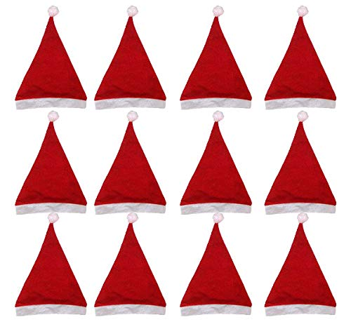Black Duck Brand Set of 12 Felt Large Holiday Christmas Red Santa Hat with Plush Cuff! ()