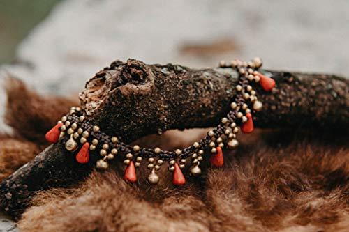 Changnoi Red Coral Brass Bells Boho Anklet Bracelet, Festival Anklet, Bohemian Style Anklet, Hippie Anklet, Thai Artisan Anklet