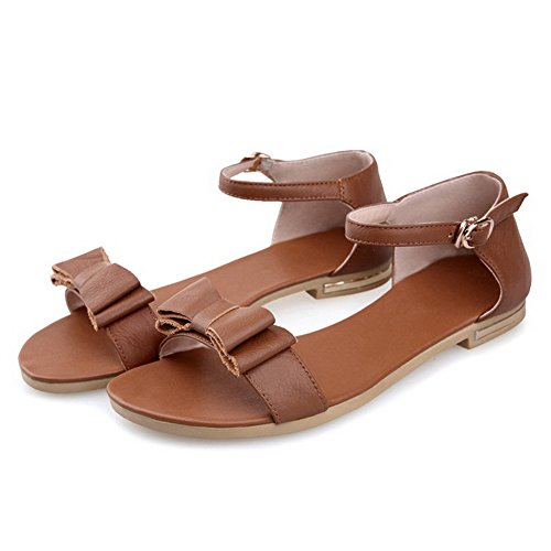 Low Sandals Buckle Toe Solid Womens Material Heels Soft Open Brown With AllhqFashion Bows 1qxtFzBx