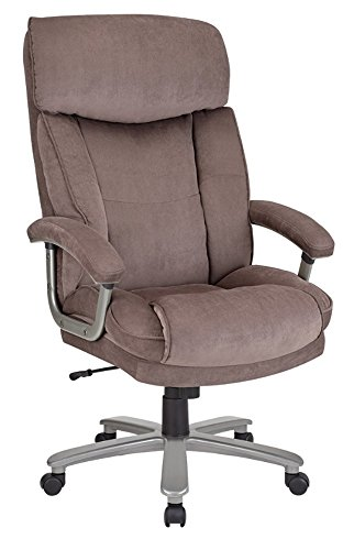 Realspace(R) BTEC 820 Big Tall Executive Fabric High-Back Chair, Brown/Silver by Realspace