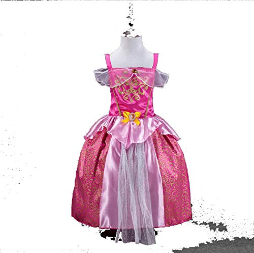 Princess Dresses Rapunzel Aurora Kids Party Halloween Costume Clothes,Pink,Line -