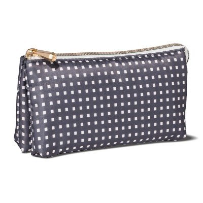 Sonia Kashuk153; Cosmetic Bag Purse Kit Charcoal Squares CHARCOAL HEATHER