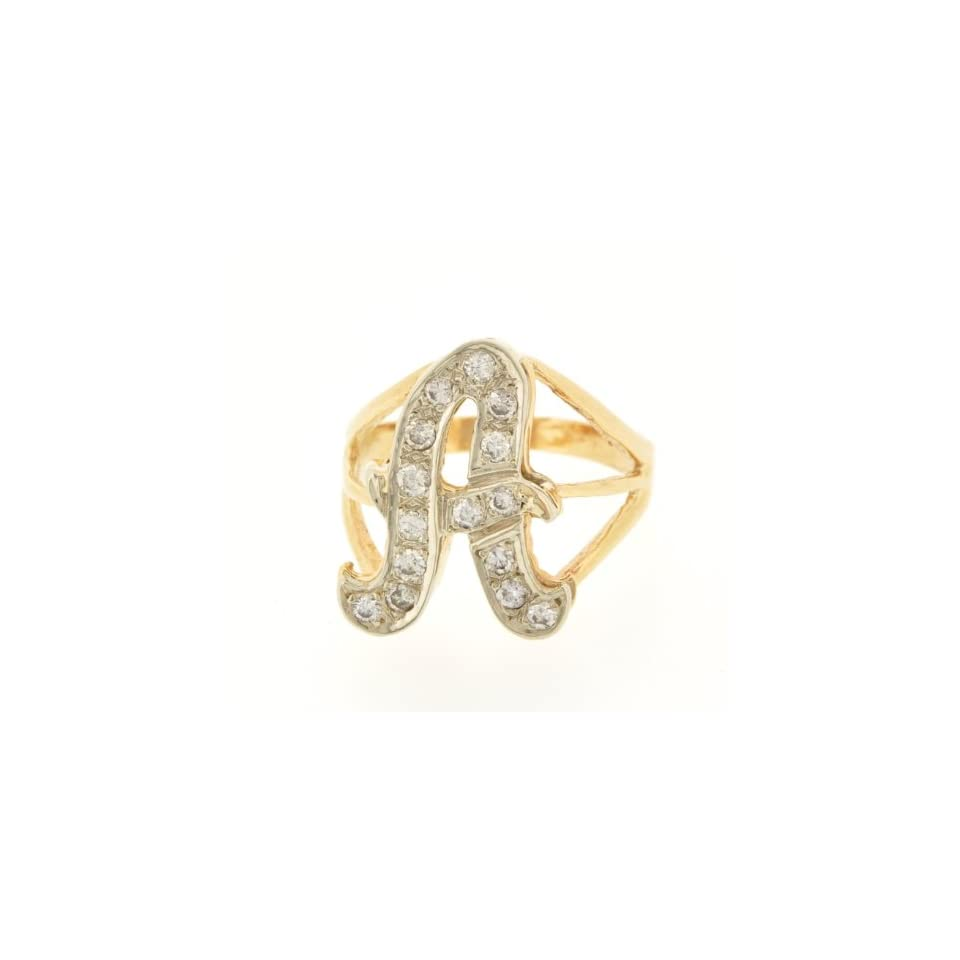 14k Yellow Gold Diamond Initial A Ring