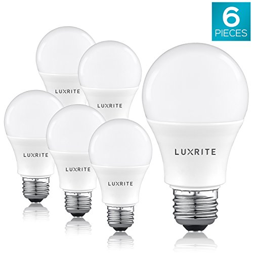Luxrite A19 LED Light Bulb 100W Equivalent, 5000K Bright White Non-Dimmable, 1600 Lumens, Standard LED Bulb 15W, E26 Medium Base, UL Listed, Perfect for Table Lamps and Home Lighting (6 Pack)