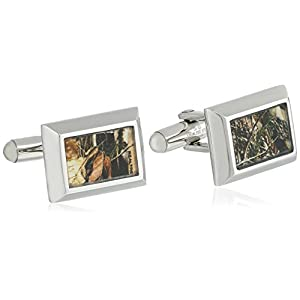 Men's Stainless Steel with Light Brown Camouflage Accent Cuff Link