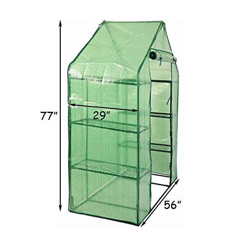 Goplus Portable Greenhouse 8 Shelves Mini Walk in Outdoor Green House 4 Tier w/PE Cover for Garden Patio Backyard (56'' ×29'' × 77'') by Goplus (Image #2)