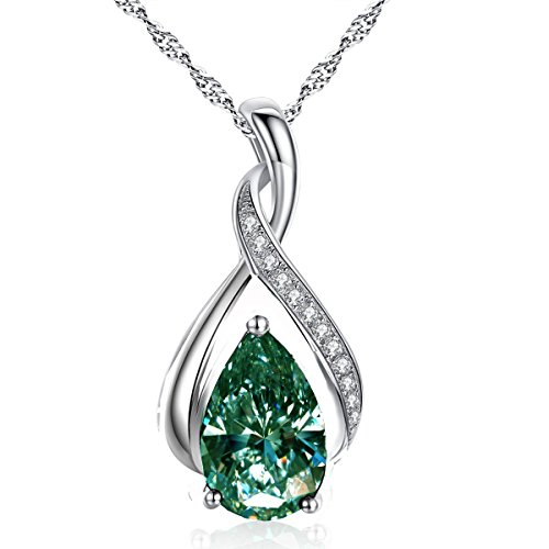 RINGJEWEL 2.36 ct VS1 Silver Plated Pear Solitaire Real Moissanite White Blue Green Pendant